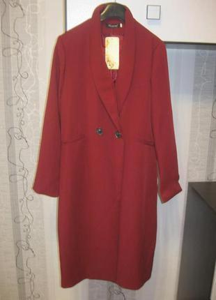Удлиненный пиджак кардиган на пуговице бордо марсала винный хл...