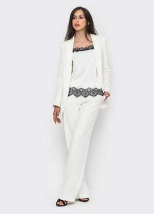 Базовый белый кардиган пиджак блейзер не на пуговицах микродай...