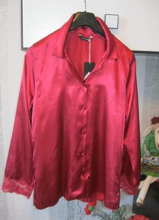 Новая  бордо марсала блуза-рубашка-пиджак с кружевом в бельево...