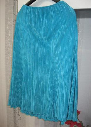 Бомбезная аквамариновая плиссированная юбка бирюзовая гофре пл...