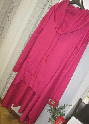 Демисезонное платье гольф водолазка туника худи в расслабленно...
