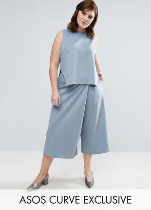Пыльно-голубые брюки кюлоты-юбка шорты-юбка с широкими штанина...
