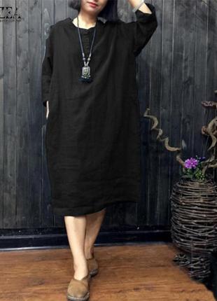 Zanzea свободное широкое балахон платье с рукавом большого раз...