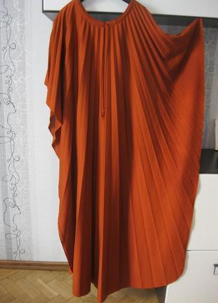Табачное плиссированное плиссе винтажное платье макси свободно...