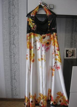 Шикарное летнее сатиновое платье клёшное сарафан длинное в пол...