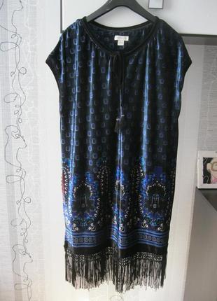 Шикардос платье туника велюр бархат с бахромой стиль бохо 14 м...