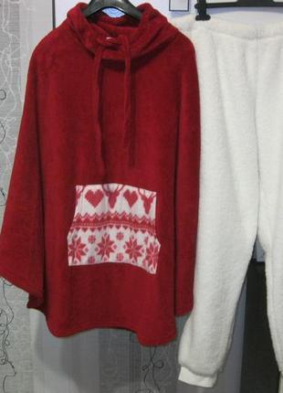 Теплая пижама домашний костюм для релакса и отдыха кофта пончо...