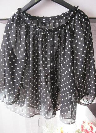 Кроп блуза шифоновая стильная в горохи свободный крой м-л, наш...