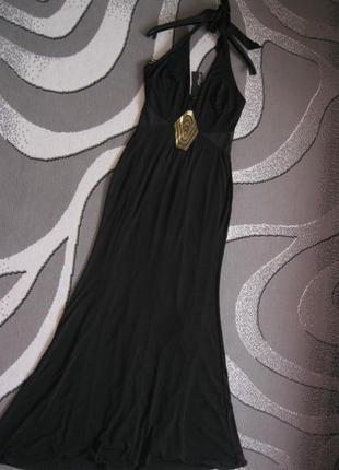 Черное богатое платье макси в пол на мероприятие с прозрачными...