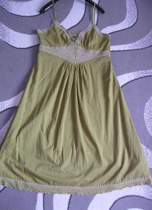 Атмосферный натуральный сарафан платье в бельевом стиле с шить...