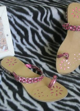 Новые босоножки шлёпки въетнамки сандалии индиго с украшениями 39