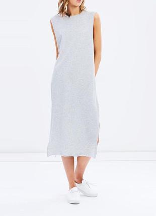 Натуральное нежно голубое девственное платье-майка макси в пол...