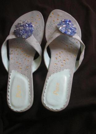 Замшевые мюли туфли без пятки босоножки сабо шлёпанцы шлёпки н...