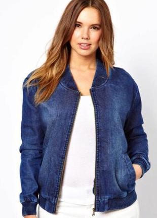 Стильный джинсовый бомбер пиджак блейзер жакет куртка ветровка м