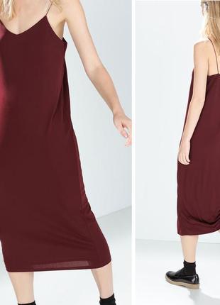 Винный шик! голое платье длинное бельевой стиль ночнушка 12, м...