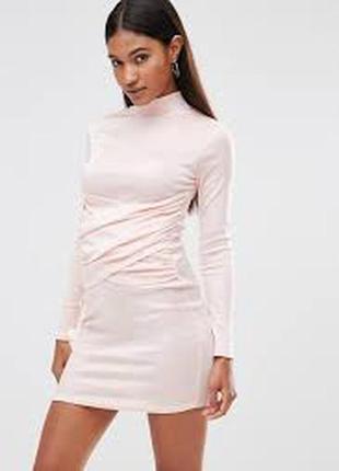 Легендарное платье-гольф-водолазка нюдовое облегающее стрейчев...