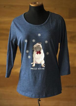 Новогодний синий лонгслив, кофта с рисунком мопса f&f, размер m
