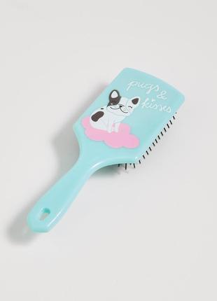 Новая голубая расческа польша щетка для волос принт собака pug...