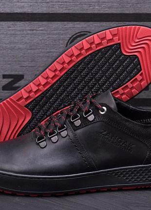 Мужские кожаные кроссовки ZG Aircross Black and Red
