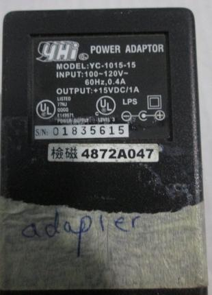 Блок питания Power Adapter YC-1015-15, Output 15V, 1A