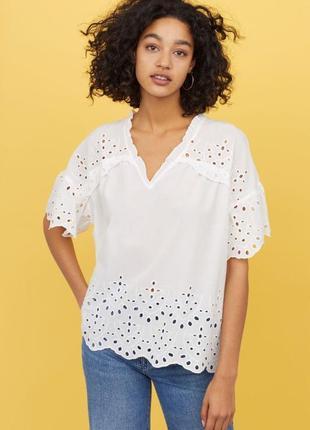 Белая кружевная блузка вышиванка прошва h&m