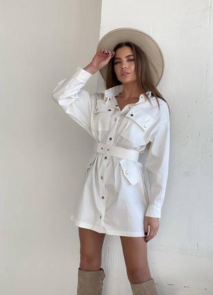 Белое короткое платье рубашка из коттона