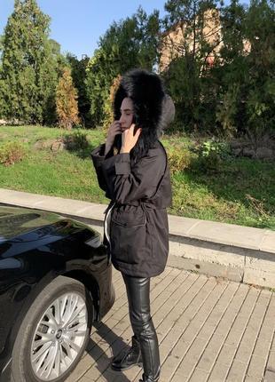 Парка куртка пуховик натуральный мех лиса песец