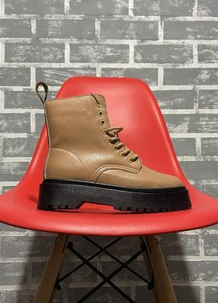Шикарные женские ботинки dr. martens jadon black beige premium...