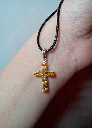 Серебряный кулон - крестик с цитринами
