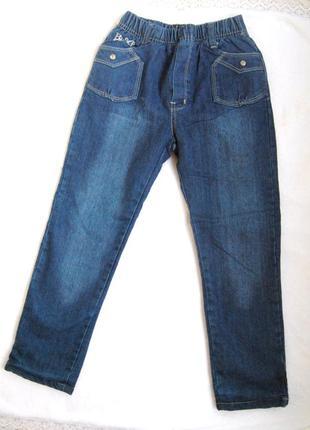 Теплые модные зимние  джинсы с утеплением флис на девочку 116см