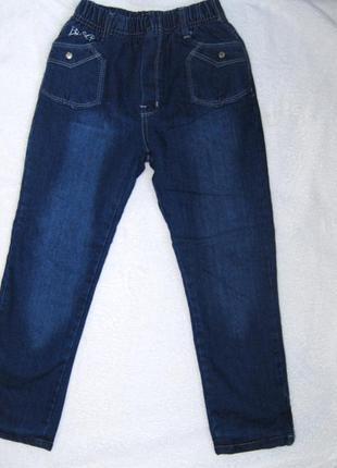 Теплые модные зимние джинсы с утеплением флис на девочку 128см