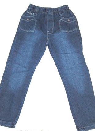 Теплые модные синие джинсы с утеплением на девочку 128см