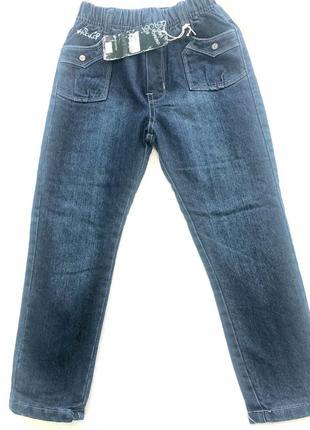 Теплые модные синие джинсы с утеплением на девочку 122см