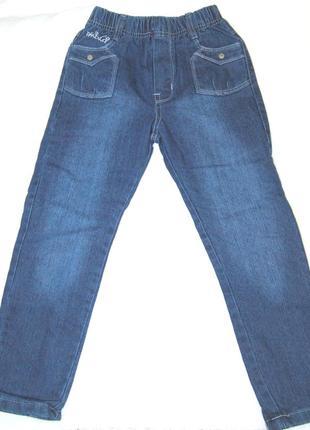 Теплые модные синие джинсы с утеплением на девочку 98см