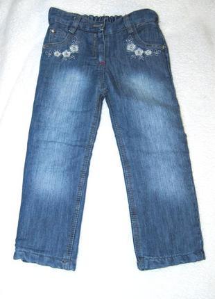 Синие джинсы с утеплением на девочку 98см