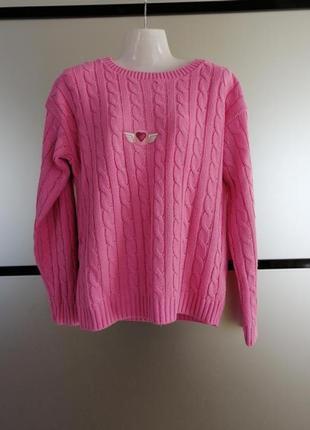 Вязаный розовый свитер кофта. с-м