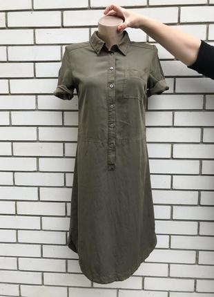 Платье-рубашка в стиле кэжуал,туника, цвета хаки,маленький раз...