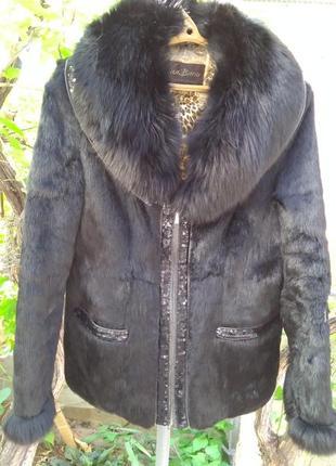 Куртка полушубок кролик с песцом размер 46 48