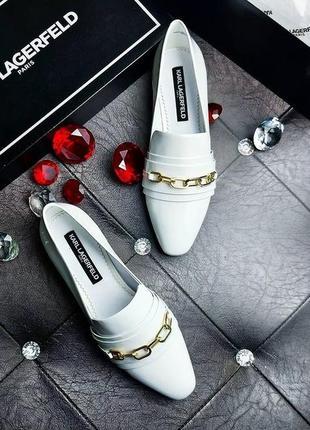 Karl lagerfeld оригинал белые кожаные туфли лоферы с золотой ц...