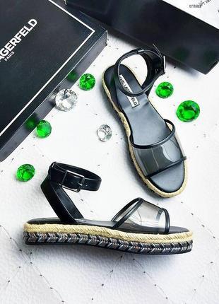 Karl lagerfeld оригинал кожаные сандалии на платформе с прозра...