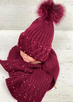 Очень красивый набор с натуральным помпоном шапка шарф