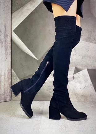 ❤ женские черные замшевые весенние демисезонные сапоги ботфорт...
