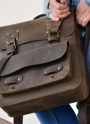 Рюкзак кожаный military