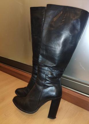 Сапоги осенние женские кожаные на каблуке 38р. favor (львов)