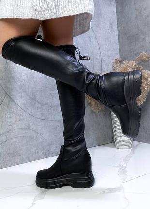 ❤ женские черные весенние демисезонные сапоги ботфорты ❤