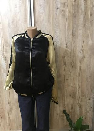 Куртка бомбер курточка мастерка двухсторонняя женская атласная...