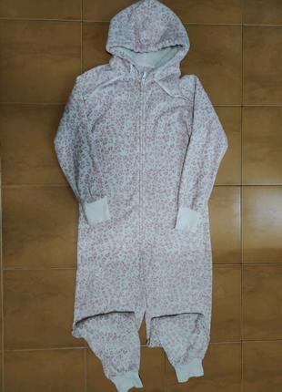 Кигуруми пижама слип для взрослых белая леопардовая розовая