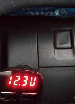 Цифровой авто вольтметр тестер напряжения , USB зарядки моб.тлф.