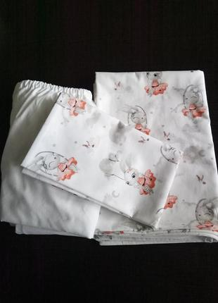 Постельное белье в детскую кроватку из сатина