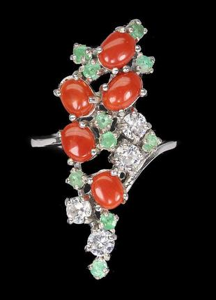 Кольцо СЕРЕБРО 925 Натуральный коралл изумруд
